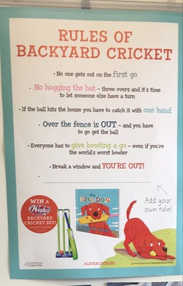 Backyard cricket rules for The 12th Dog (In case you need brushing up :-) )