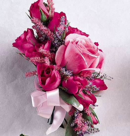 Assorted Pink Flower Corsage With Filler And Ribbon 2018 Prom