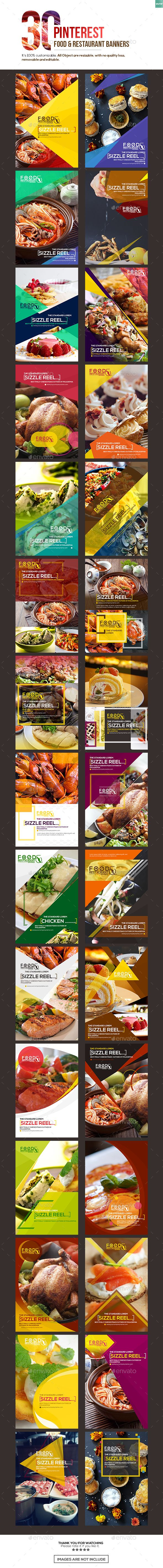 30 Pinterest Food & Restaurant Banners Templates PSD #ad #promotion