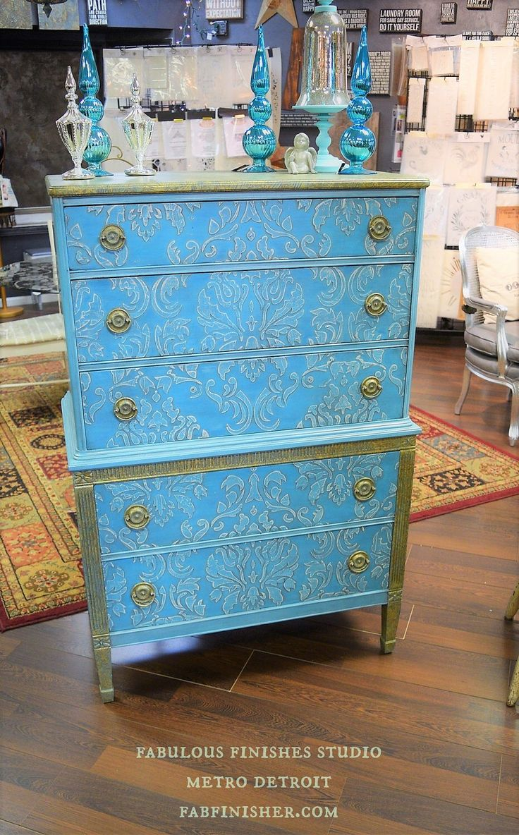 Hand Painted Chalk Turquoise Raised Allover Stencil Varigated Leaf Antique Vintage Chest one of kind by FabulousFinishesInc on Etsy https://www.etsy.com/listing/508644693/hand-painted-chalk-turquoise-raised