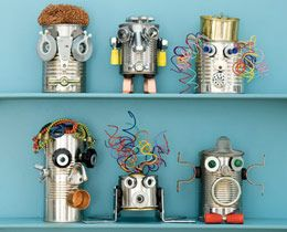 Robots in space party: Robots, Crafts Ideas, For Kids, Crafts Projects, Kids Crafts, Cans Crafts, Tin Cans, Tins Cans, Recycled Crafts