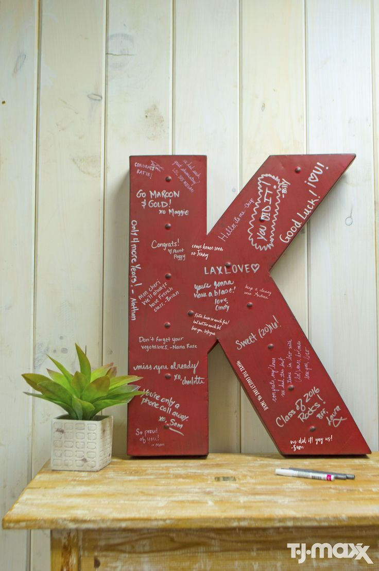 This oversized initial is perfect for guests to write personalized messages to the grad. Afterwards, it becomes a cool piece of artwork for their dorm or apartment.