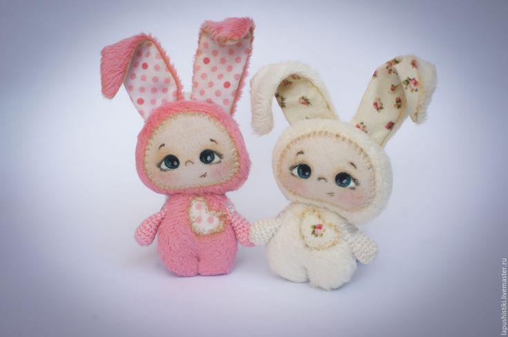"""Купить Текстильная игрушка """"Лапушистики"""" - розовый, текстильная игрушка, текстильный заяц, ручная работа, handmade"""