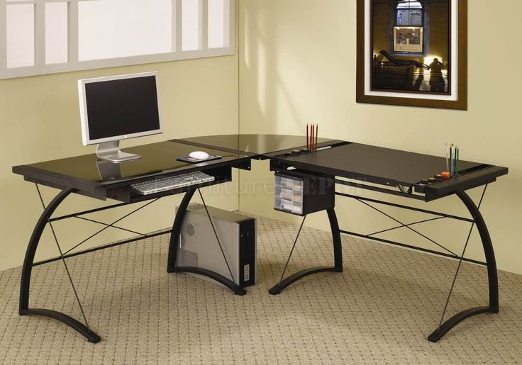 Black Glass Home Office Desk