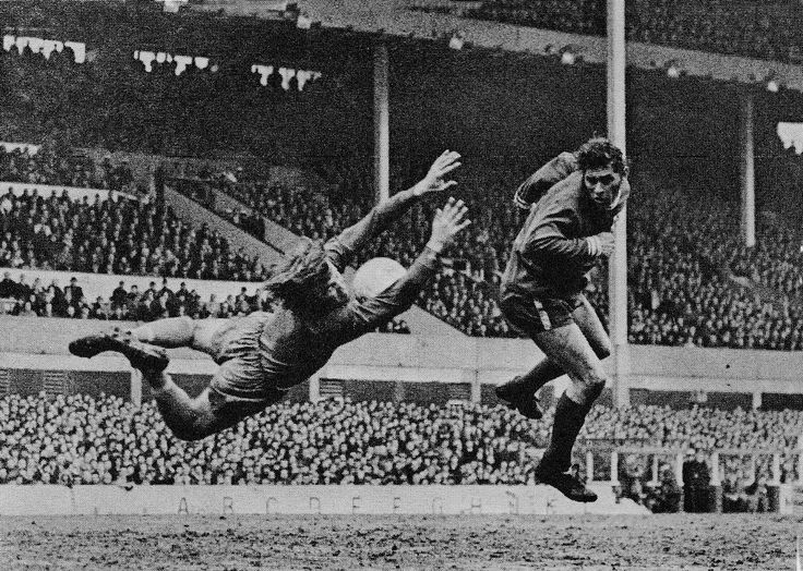 6th March 1971. Everton goalkeeper Andy Rankin makes a flying save against Colchester United in the FA Cup Quarter Final.