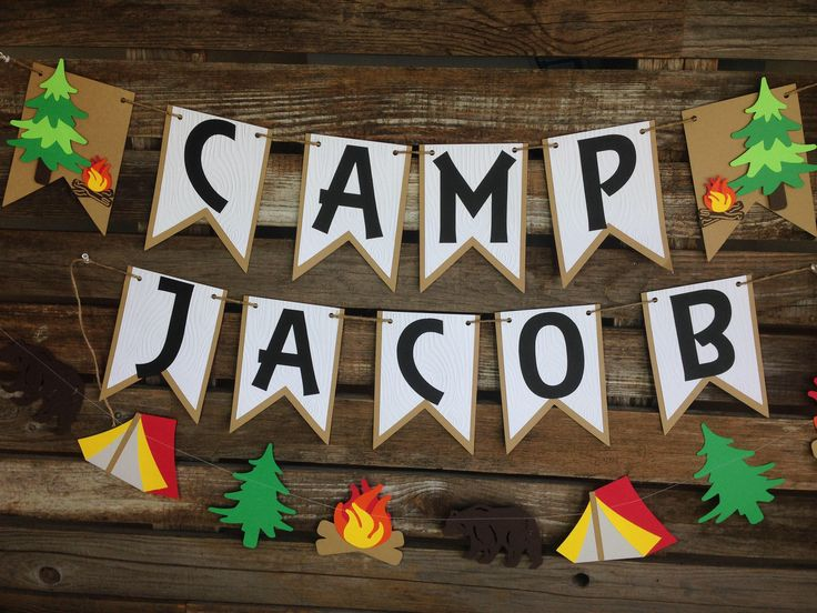 Camping Party Banner - Backyard Camp Out, Summer Party, First Birthday, Photo Prop by BlueOakCreations on Etsy https://www.etsy.com/listing/526355390/camping-party-banner-backyard-camp-out
