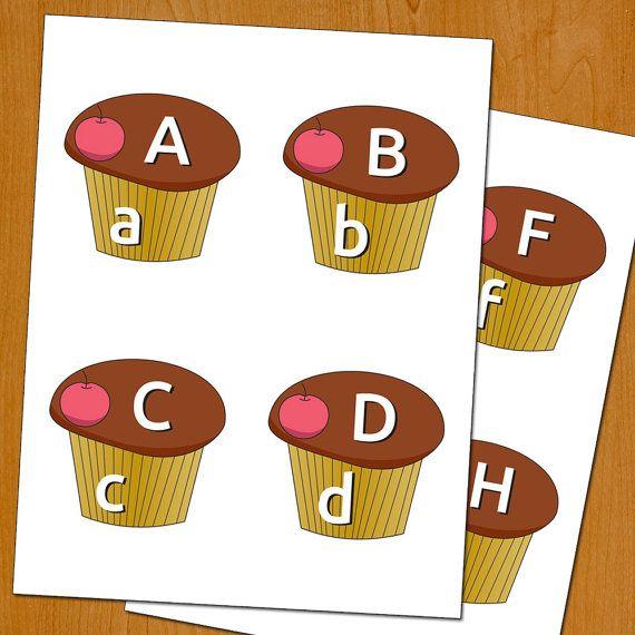 Alphabet cupcakes matching game children toy by OrangeKiteLabs