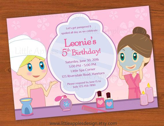 Kids Spa Party Invitation / Girls Spa Party by LittleApplesDesign,