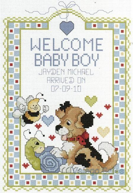 "Cross Stitch Kit 6"" x 10"" Birth Record WELCOME BABY BOY"