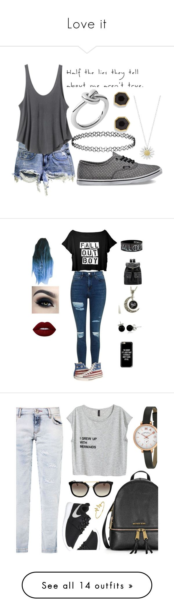 """""""Love it"""" by panda-stilinski-lol-24 ❤ liked on Polyvore featuring RVCA, Vans, Daisy Jewellery, Topshop, Michael Kors, Vince Camuto, Converse, Lime Crime, Bling Jewelry and Casetify"""