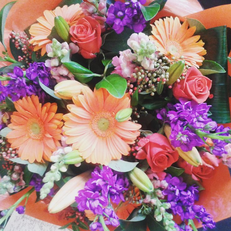 #purple #orange #bunch #flowers