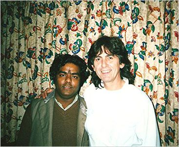 George Harrison poses with an Indian musician in 1989 during the sessions for 'Armchair Theatre'.  Photo courtesy of Phil Hatton and ELO Discovery Page