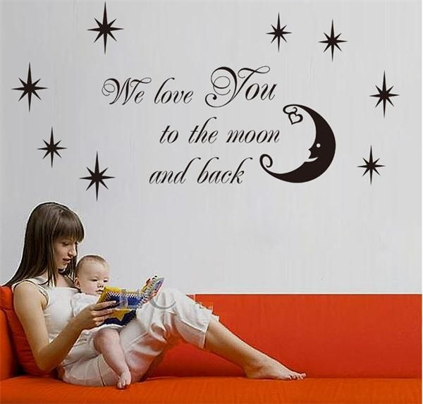 Find More Wall Stickers Information about We love you to the Moon and Back Star quotes Wall Sticker vinyl Wallpaper wall decal DIY home art decor Removable,High Quality wallpaper pink,China wallpaper theme Suppliers, Cheap wallpaper mix from Smile face home decal on Aliexpress.com