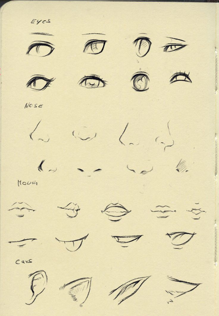 Eyes, nose, mouth, lips, ear by ryky on @DeviantArt
