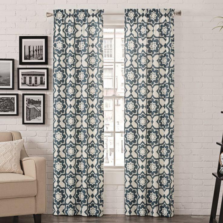 Bollin Geometric Semi-Opaque Rod Pocket Curtain Panels
