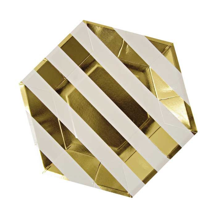 Gold and White Hexagon Paper Plates (8), Meri Meri Gold Foil Large Plates, 9-Inch Metallic Gold Party Plates, Luxury Gold Party Tableware by CrankyCakesShop on Etsy https://www.etsy.com/listing/198197403/gold-and-white-hexagon-paper-plates-8