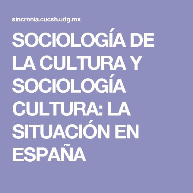 SOCIOLOGÍA DE LA CULTURA Y SOCIOLOGÍA CULTURA: LA SITUACIÓN EN ESPAÑA