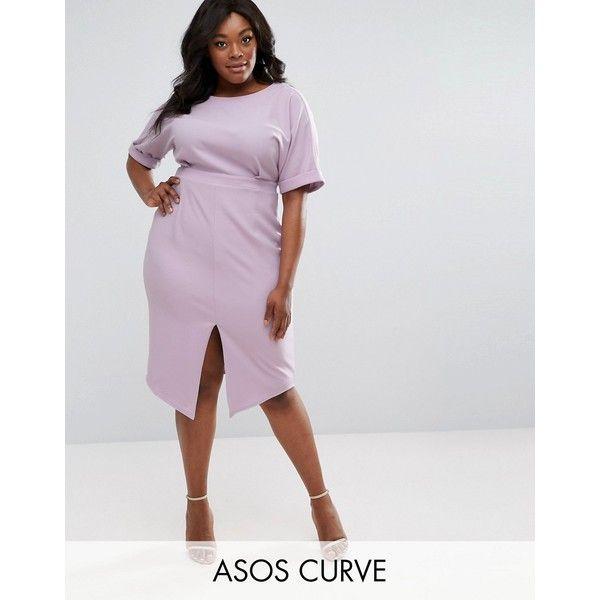 ASOS CURVE Smart Midi Dress ($63) ❤ liked on Polyvore featuring dresses, plus size, purple, slimming plus size dresses, short-sleeve dresses, tall dresses, plus size day dresses and calf length dresses