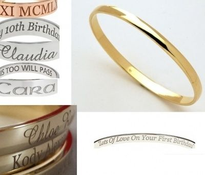 Laser Engraved Bangle - CLASSIC - Sterling Silver or 9ct Gold