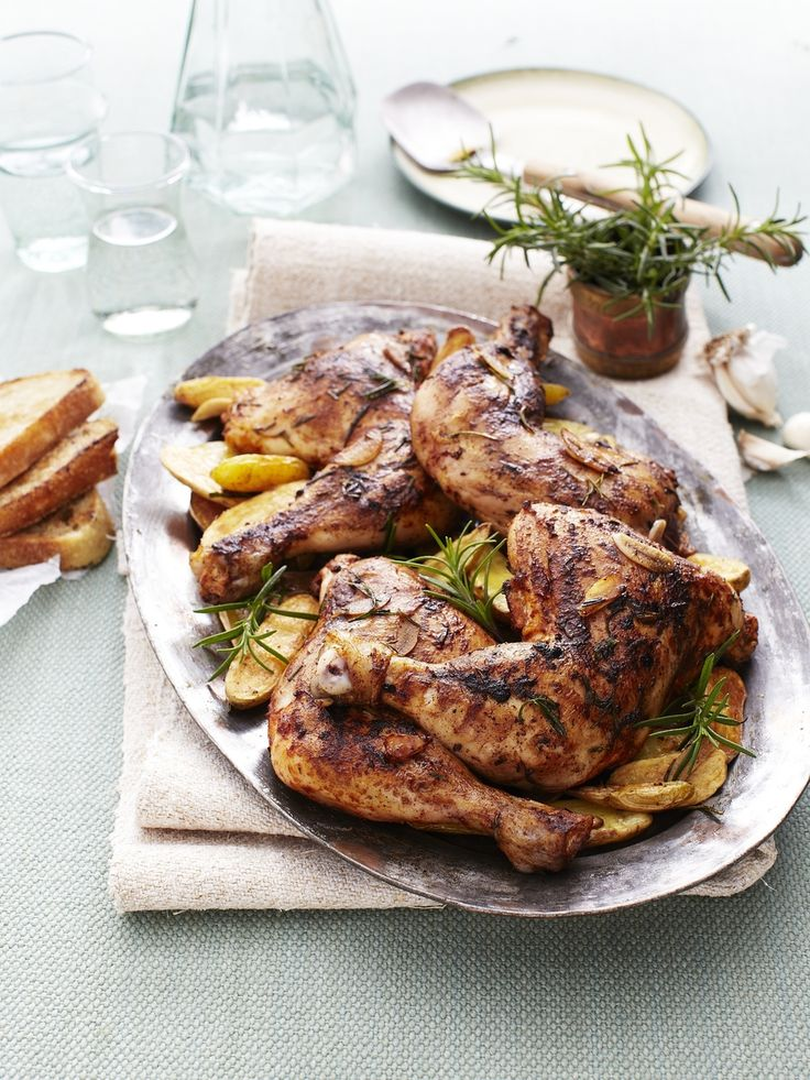 Lemon Rosemary-Garlic Chicken with Roasted Potatoes via Jennifer Davick