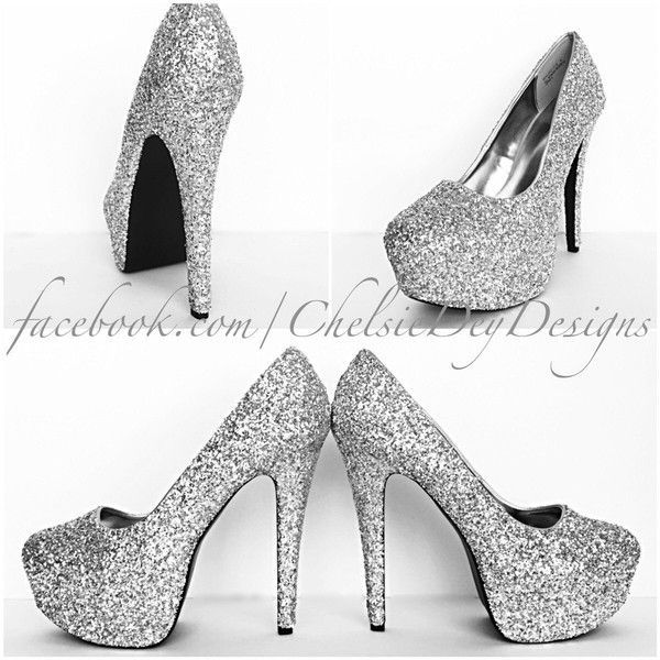 Glitter High Heels Silver Platform Pumps Grey Gray Sparkly Wedding... ($70) ❤ liked on Polyvore featuring shoes, pumps, heels, silver, women's shoes, silver pumps, silver wedding shoes, silver evening shoes, silver heel pumps and high heeled footwear #promheelssparkly