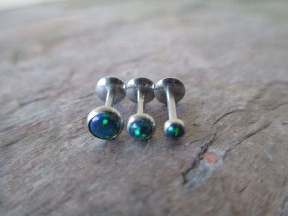 """Sale!!! Blue Green Fire Opal Stone Monroe Labret Barbell Earring Piercing 8mm 5/16"""" 10mm 3/8"""" 16G (1.2mm) 3mm 4mm 5mm  Body Jewelry"""