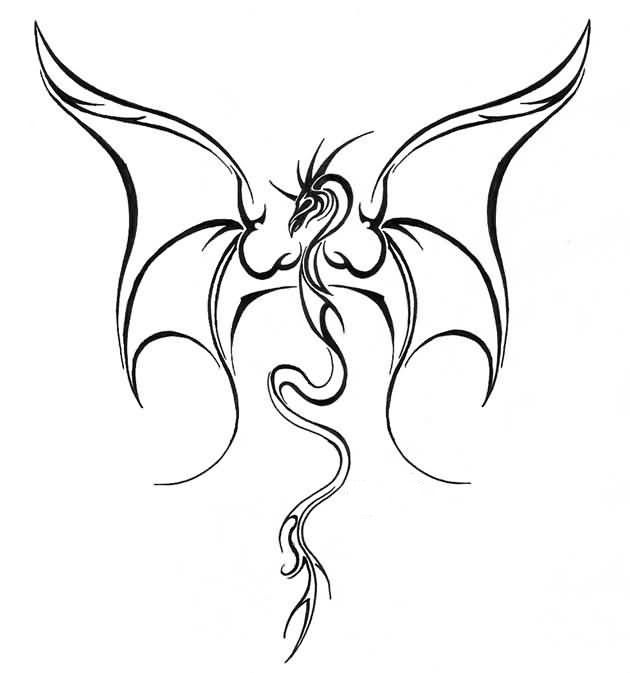 Simple Flying Dragon Tattoo Design Make On Paper Jpg 630 673 Celtic Dragon Tattoos Dragon Tattoo Stencil Dragon Tattoo