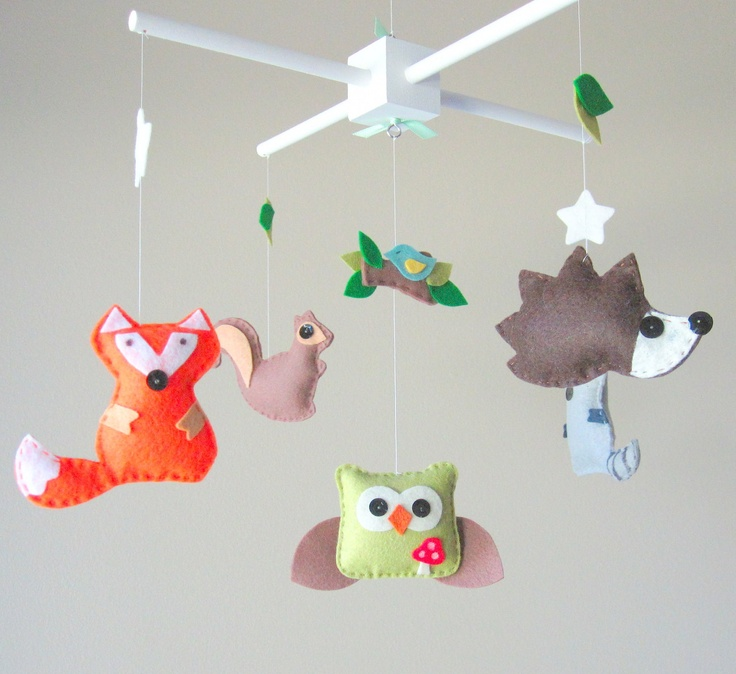 Baby mobile forest friends mobile forest creatures for Woodland animals nursery mobile