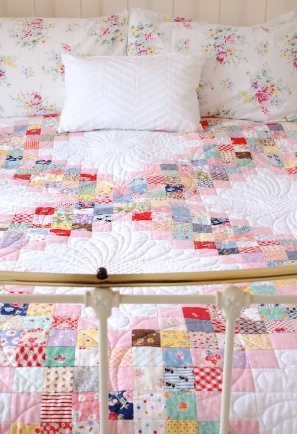 Scrappy Irish Chain Quilt + FREE Downloadable Pattern by Jessie Fincham. Quilted by Trudi Wood.