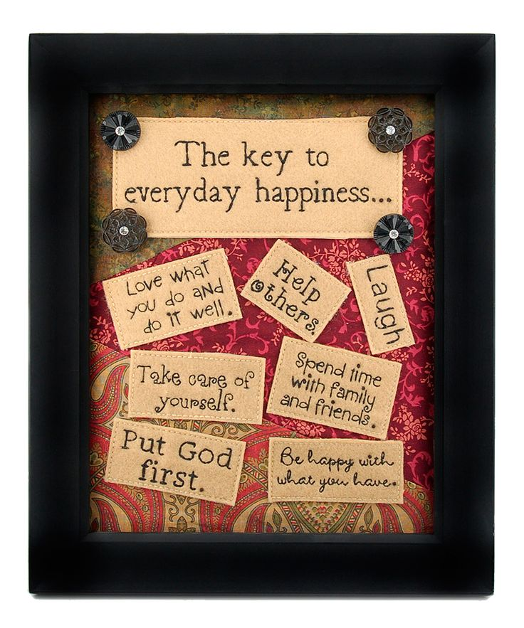 'Key to Happiness' Embroidered Wall Art   Daily deals for moms, babies and kids