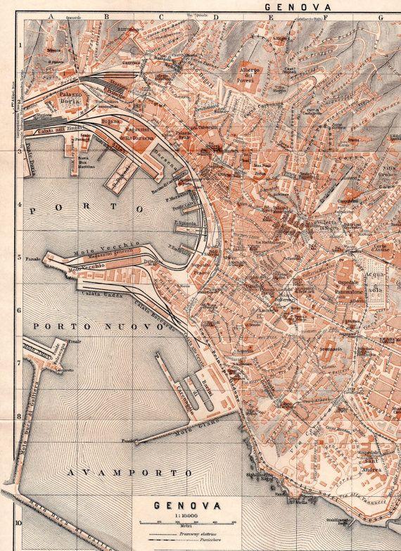 1928 Genova Italy Antique Map City Plan Genoa by Craftissimo