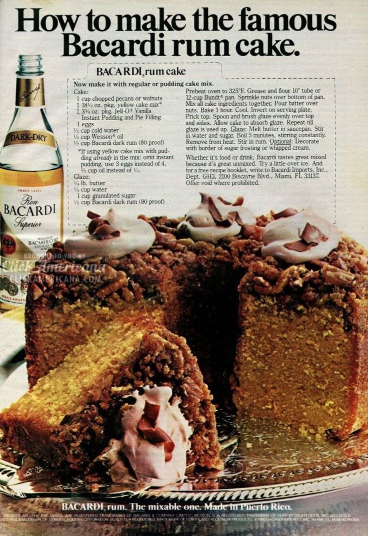 80s party time!  How to make the famous Bacardi rum cake (1982)