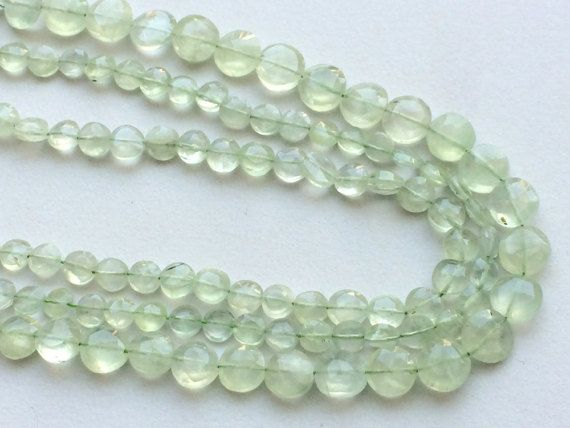 Prehnite Beads Green Prehnite Faceted Coin Beads by gemsforjewels