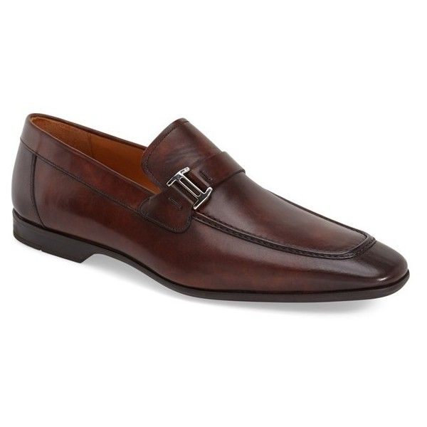 Men's Magnanni 'Lino' Loafer ($299) ❤ liked on Polyvore featuring men's fashion, men's shoes, men's loafers, mid brown, mens leather loafers, mens leather shoes, mens brown loafer shoes, mens brown loafers and mens brown shoes