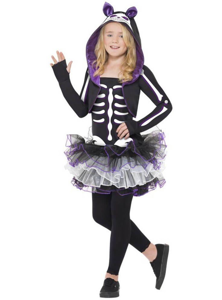 Disfraz de esqueleto gatuno para niña | Comprar