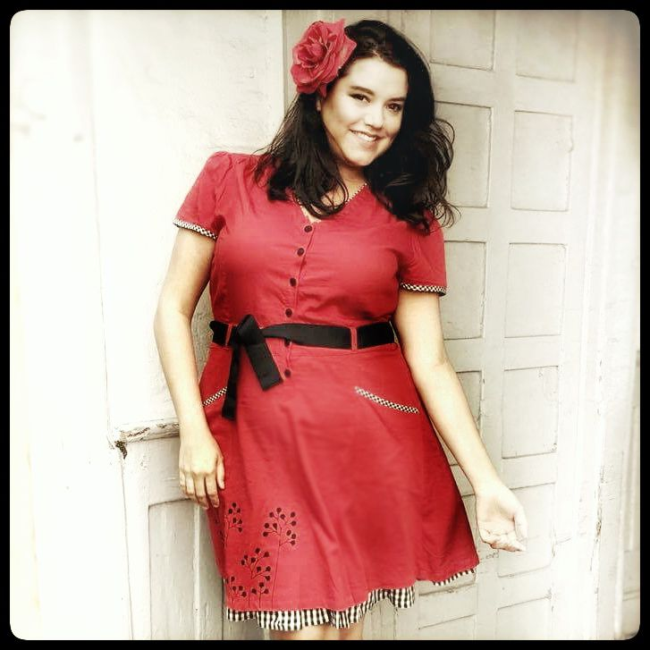 """Beautiful model & Jazz Vocalist Cassia DeMayo looking amazing in the Red """"Pang"""" dress. Check it out on the webshop."""
