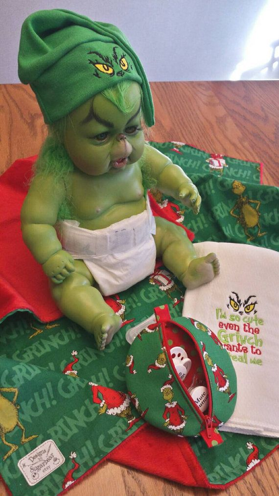 Check out this item in my Etsy shop https://www.etsy.com/listing/256233196/grinch-baby-blanket-gift-set-infant