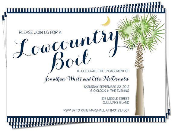 South Carolina Palmetto Moon Lowcountry Boil Invitation ...