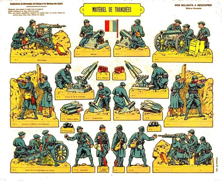 French paper model soldiers of WWI.