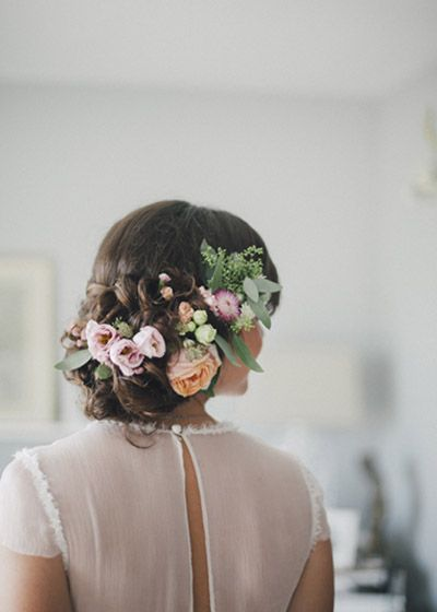 Bridal up do with Fresh Flowers | Botanical |