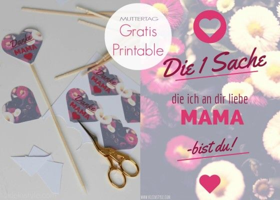 muttertag gratis download  danke mama/ mothers day free printable by kleinstyle.com