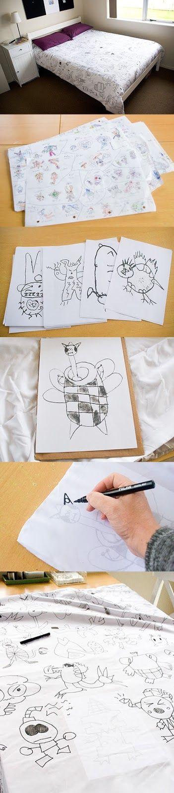 *POP* Idea: Personalizar sábanas/cortinas con los dibujos de niños / Personalizar lençóis/cortinas com os desenhos das crianças
