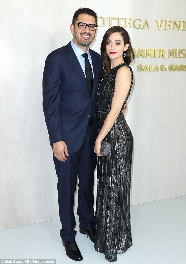 Perfect pair:Emmy Rossum and husband Sam Esmail came out for the star studded night...