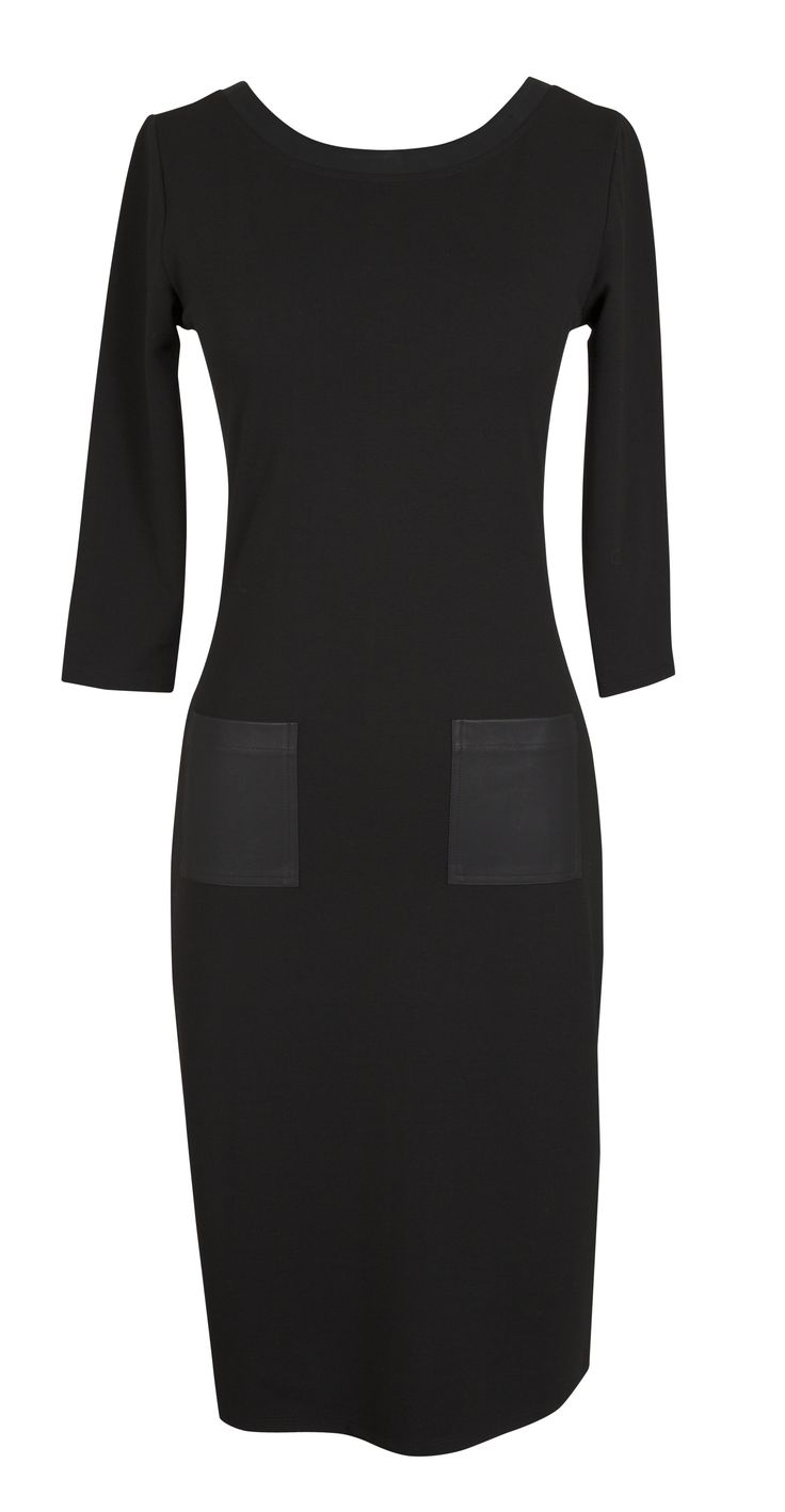 Formal black sleeve dress with leather pocket detail