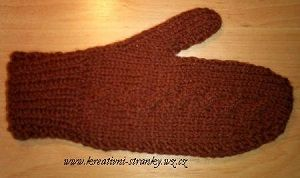 Hnědé rukavice palčáky   PLETENÍ – NÁVODY