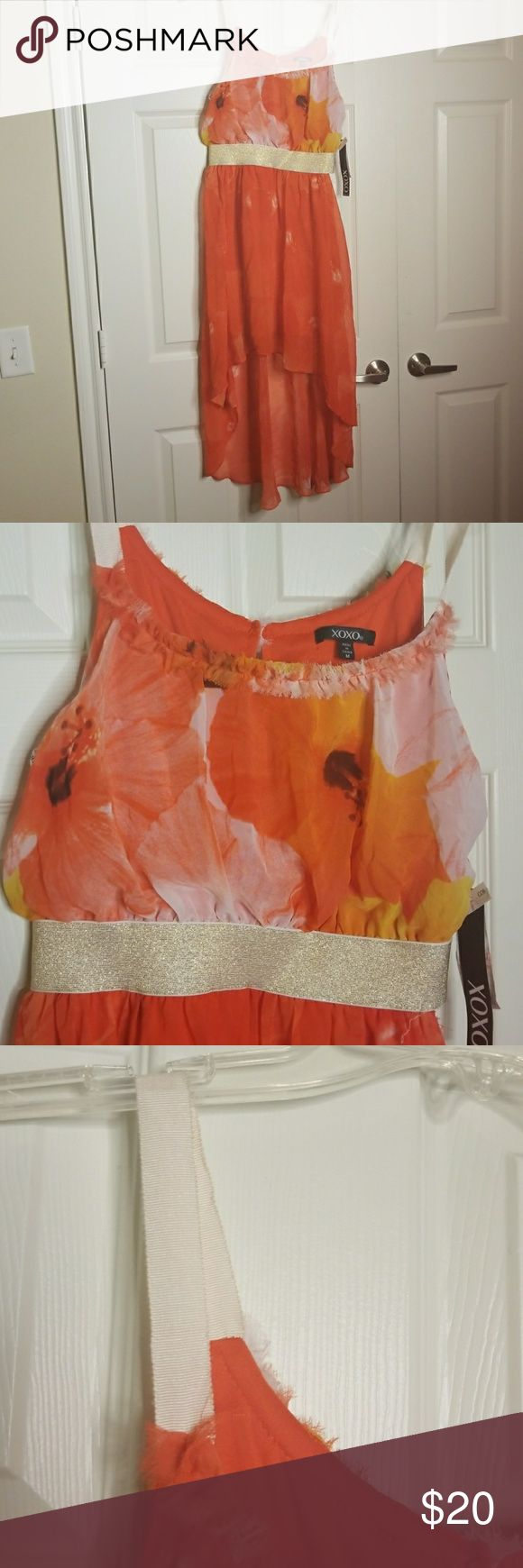 FLORAL HIGH LOW DRESS Orange red floral high low dress with light gold sparkly waist band. Never worn and has a small place where the waist band needs to be sewn. XOXO Dresses High Low