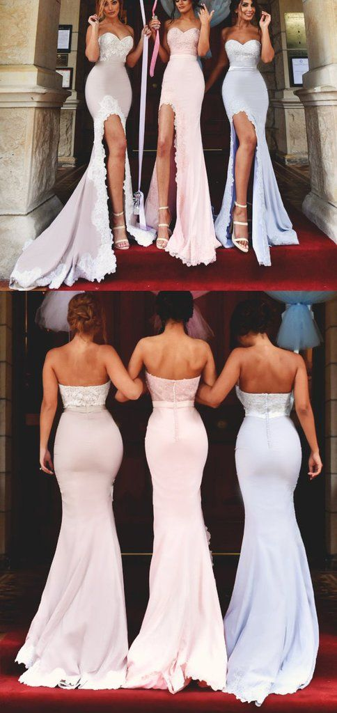 Elegant Bridesmaid Gown, Wedding Party Formal Dress, 2017 Mermaid Long Bridesmaid Dress with Slit Strapless Jersey Prom Gown