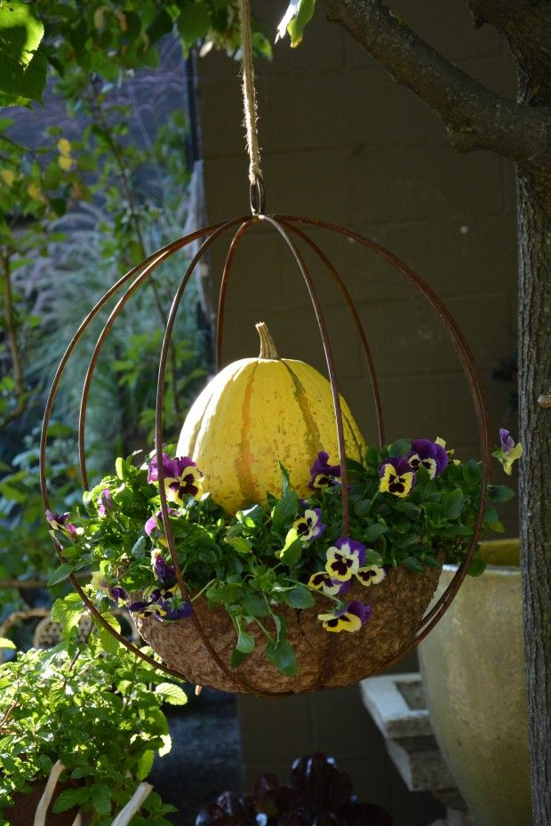 Outdoor fall decor - metal sphere - gourd - pansies
