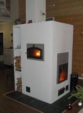 Finnish combined baking oven and hearth, a thermal mass heater | Takkaleivinuuni