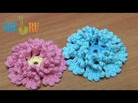 Crochet Flower How To With Zig-Zag Petals and Picots Tutorial 33